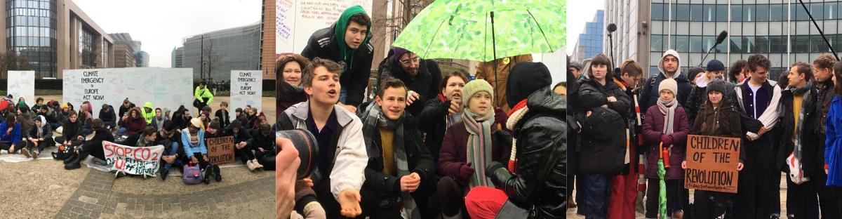 Drei Bilder in einer Reihe, jeweils Jugendliche Klimaaktivisten, die in Brüssel demonstrieren. Unter ihnen auch Greta Thunberg.