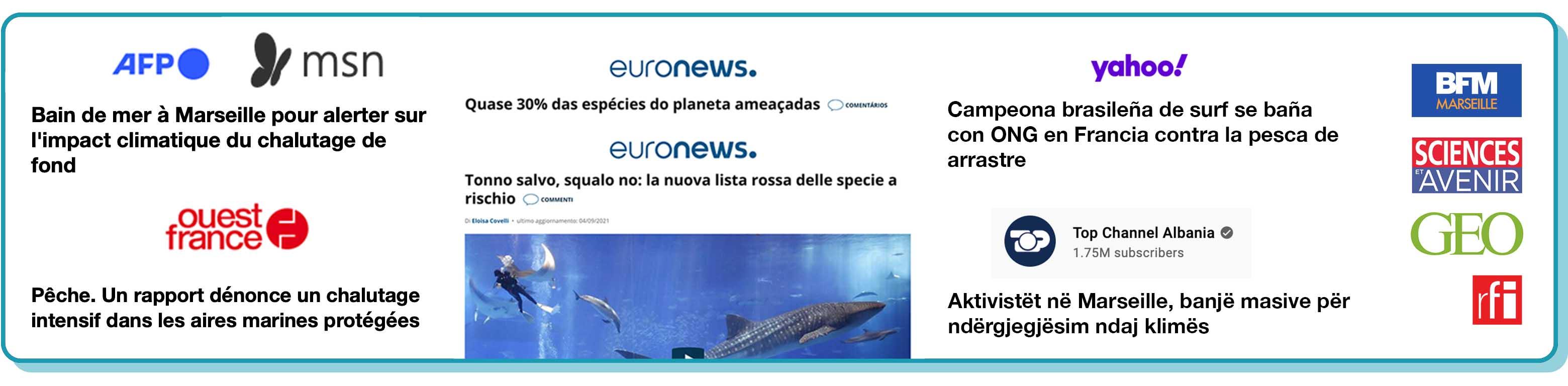 Screenshots von Nachrichtenartikeln über das Event in verschiedenen Sprachen ist zu sehen.