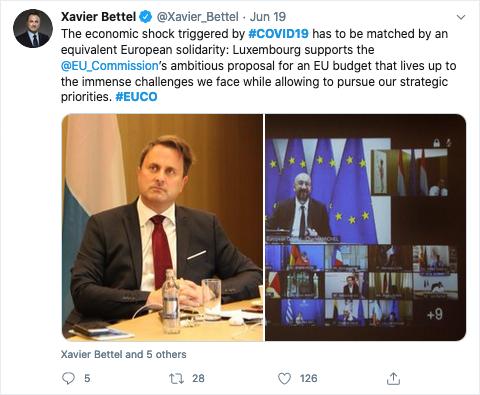 Xavier Bettel, Premierminister von Luxemburg, twitterte über das jüngste Treffen der EU-Chefs zur Finanzierung des Wiederaufbauplans.