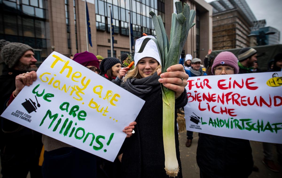Vor einem EU-Gebäude in Brüssel demonstrieren WeMove Aktive und fordern nachhaltige Landwirtschaft.