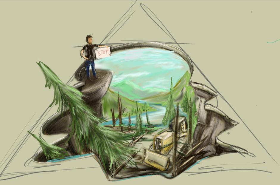 Das Bild zeigt eine Skizze des 3D Bildes, image by Vanessa Hitzfeld