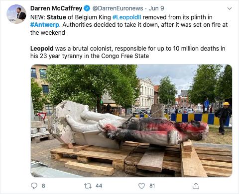 Diese Statue von Leopold II. in Antwerpen wurde vor einigen Wochen entfernt, nachdem sie beschädigt und in Brand gesteckt worden war. Das passiert gerade auch mit anderen Statuen von Leopold II. in ganz Belgien.