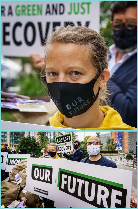 Woman wearing mask that says Our Future, group of protesters holding signs that say Our Money Our Future
