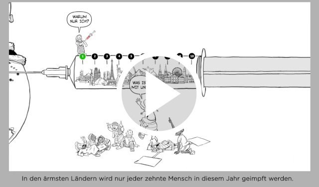 Standbild aus Video von People's Vaccines, Play button zentriert