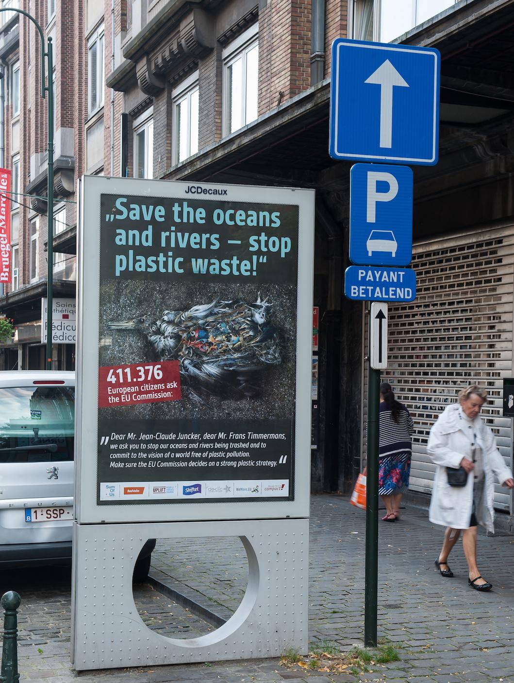 Uno dei cartelloni con cui abbiamo tappezzato Bruxelles