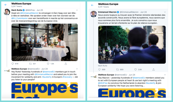 Esempio di tweets di Macron e Rutte
