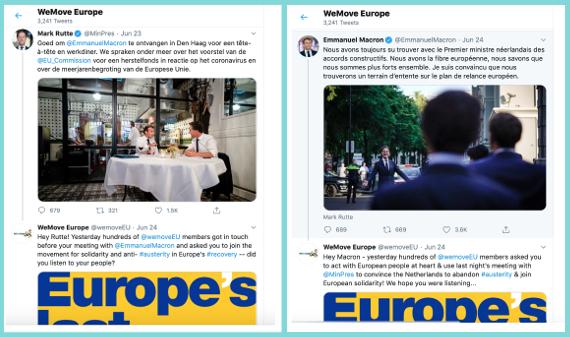 Zrzut ekranu przedstawiający profile Marka Rutte i Emmanuela Macrona na Twitterze