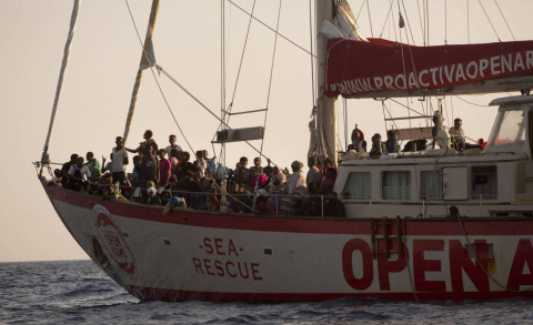 Spanish rescue shipe Open Arms at sea.