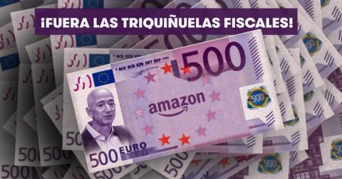 Billetes de 500€ con la cara de Jeff Bezos y el logo de Amazon