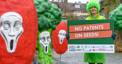 Verdure che gridano e donna con cartello durante una protesta di fronte al ministero della giustizia tedesco