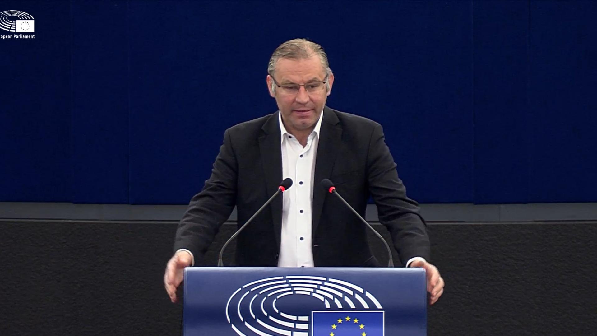 Standbild aus Video, MEP Norbert Lins steht in der Mitte an einem Podium mit EU-Flagge, dunkelblauer Hintergrund