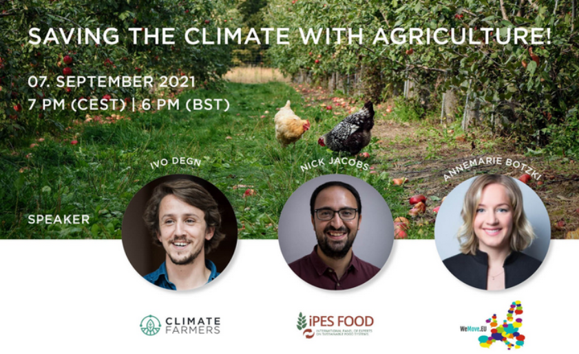 Screenshot of webinar video, text Saving the Climate with Agriculture