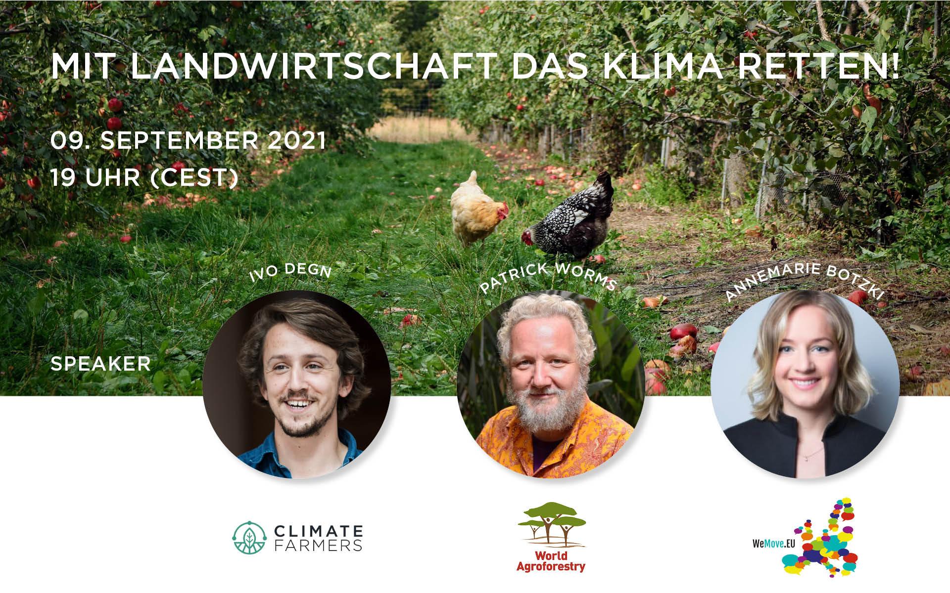 """Einladung zum Webinar """"Mit Landwirtschaft das Klima retten!"""" am 9. September, 19 Uhr"""